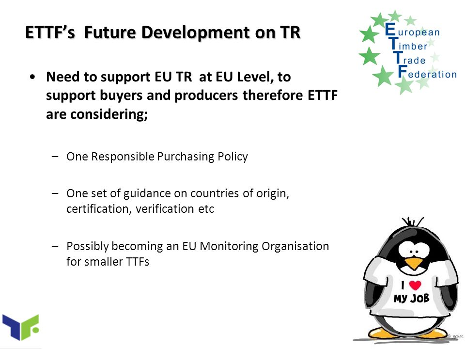 ETTFs Future Development on TR Need to support EU TR at EU Level, to support buyers and producers therefore ETTF are considering; –One Responsible Purchasing Policy –One set of guidance on countries of origin, certification, verification etc –Possibly becoming an EU Monitoring Organisation for smaller TTFs