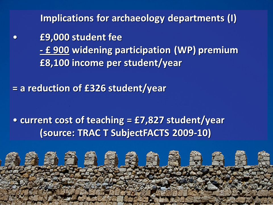 Implications for archaeology departments (I) £9,000 student fee - £ 900 widening participation (WP) premium £8,100 income per student/year = a reduction of £326 student/year£9,000 student fee - £ 900 widening participation (WP) premium £8,100 income per student/year = a reduction of £326 student/year current cost of teaching = £7,827 student/year (source: TRAC T SubjectFACTS 2009-10) current cost of teaching = £7,827 student/year (source: TRAC T SubjectFACTS 2009-10)