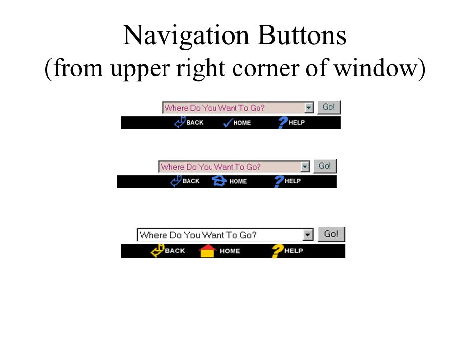 Navigation Buttons (from upper right corner of window)