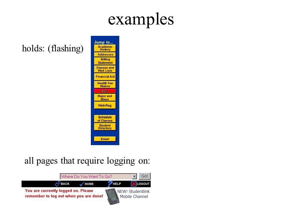 examples holds: (flashing) all pages that require logging on: