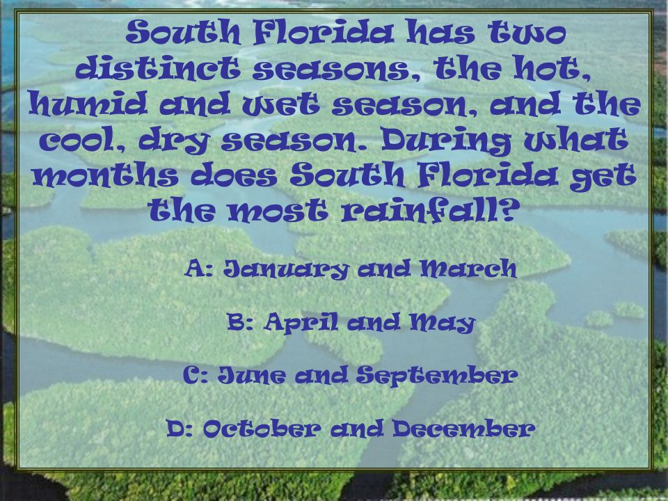 South Florida has two distinct seasons, the hot, humid and wet season, and the cool, dry season.