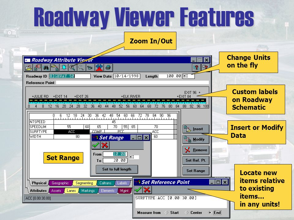 Roadway Viewer Features Zoom In/Out Change Units on the fly Custom labels on Roadway Schematic Insert or Modify Data Locate new items relative to existing items… in any units.