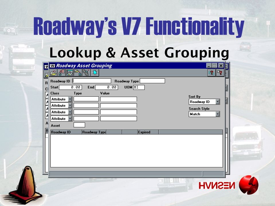 Lookup & Asset Grouping Roadways V7 Functionality