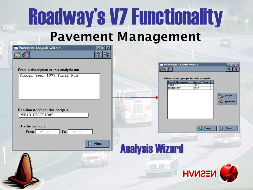 Pavement Management Analysis Wizard Roadways V7 Functionality