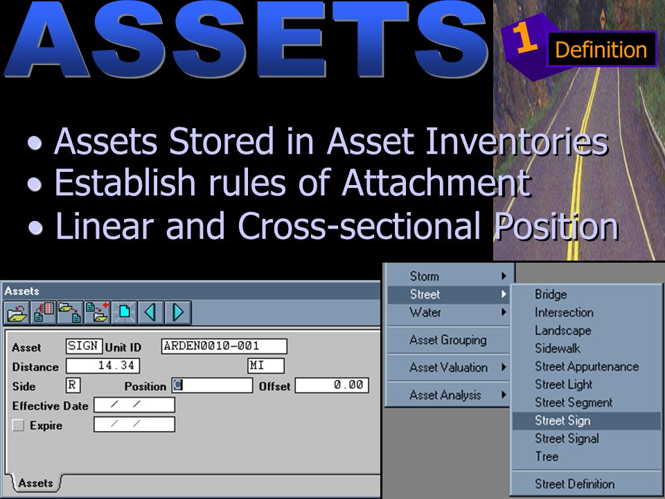Linear and Cross-sectional Position Establish rules of Attachment Assets Stored in Asset Inventories 1 Definition