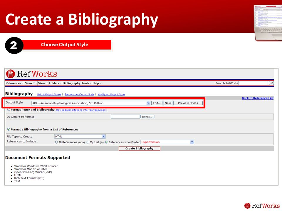 Create a Bibliography Choose Output Style 2