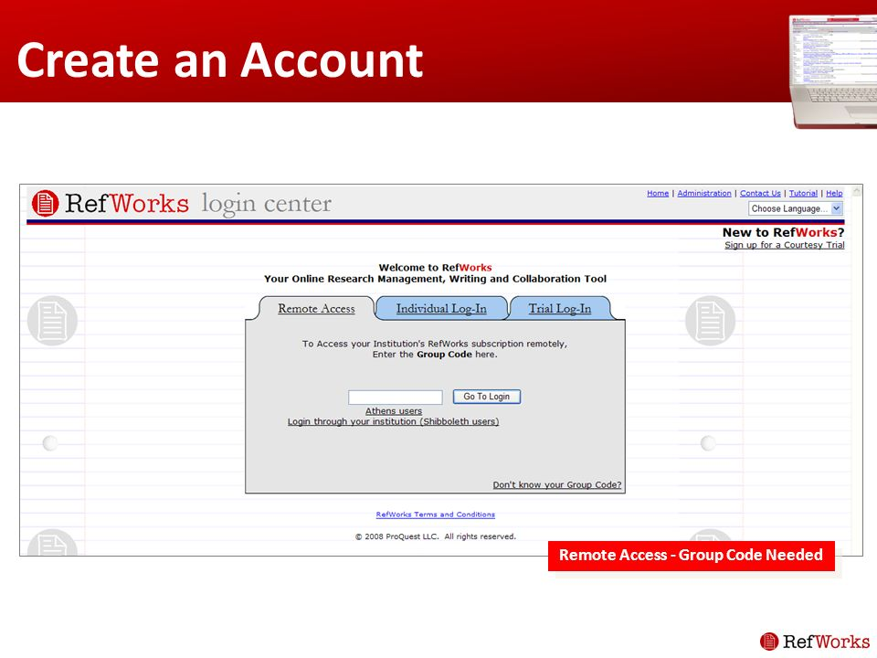 Create an Account Remote Access - Group Code Needed