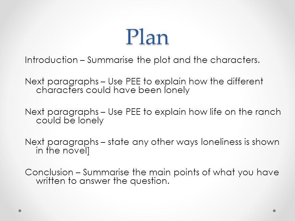 Plan Introduction – Summarise the plot and the characters.