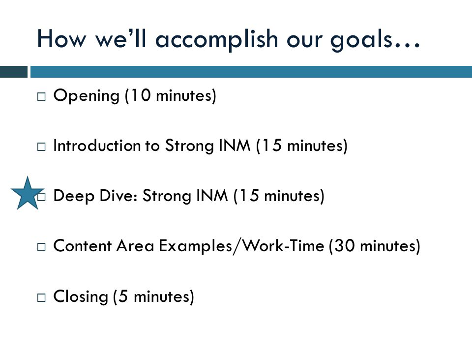 How well accomplish our goals… Opening (10 minutes) Introduction to Strong INM (15 minutes) Deep Dive: Strong INM (15 minutes) Content Area Examples/Work-Time (30 minutes) Closing (5 minutes)