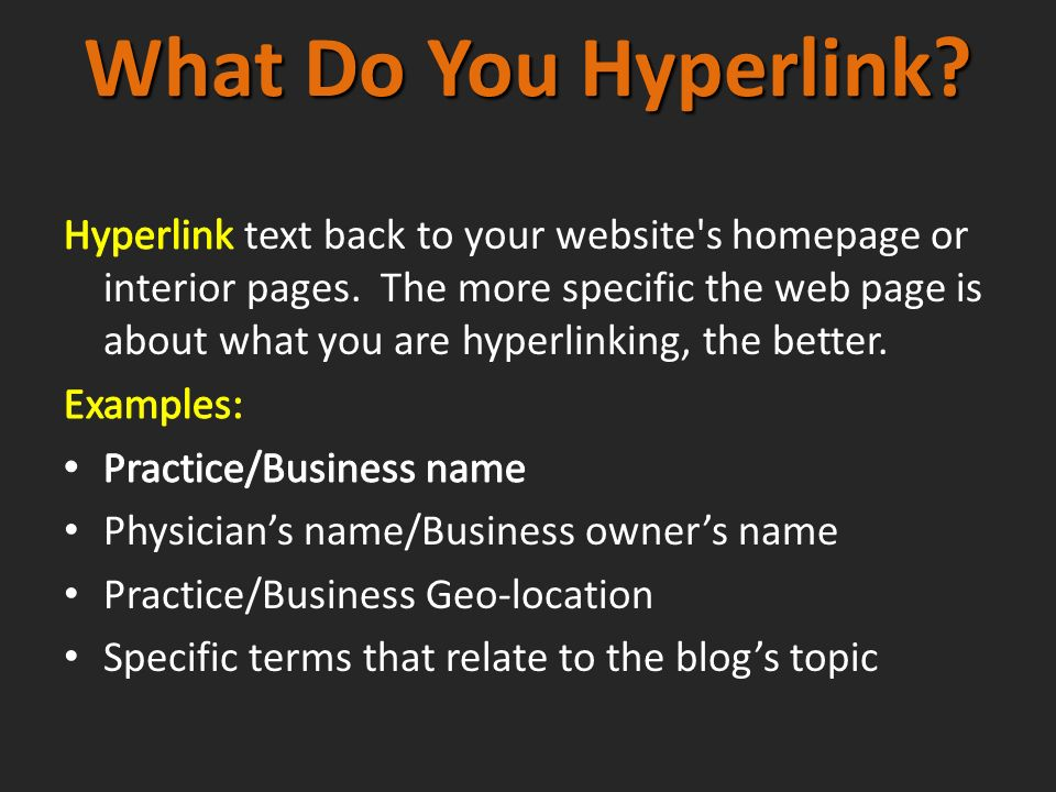 What Do You Hyperlink