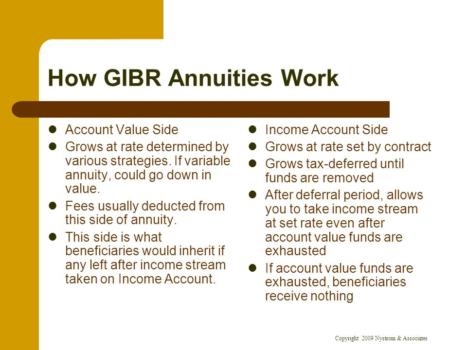 Copyright 2009 Nystrom & Associates How GIBR Annuities Work Account Value Side Grows at rate determined by various strategies.
