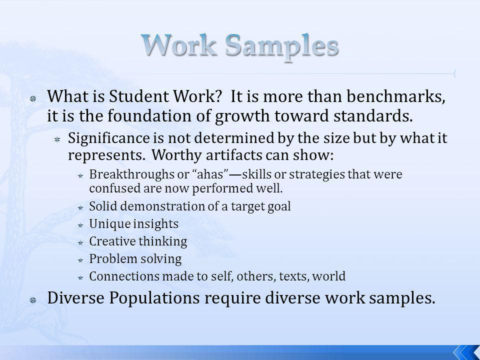 What is Student Work. It is more than benchmarks, it is the foundation of growth toward standards.