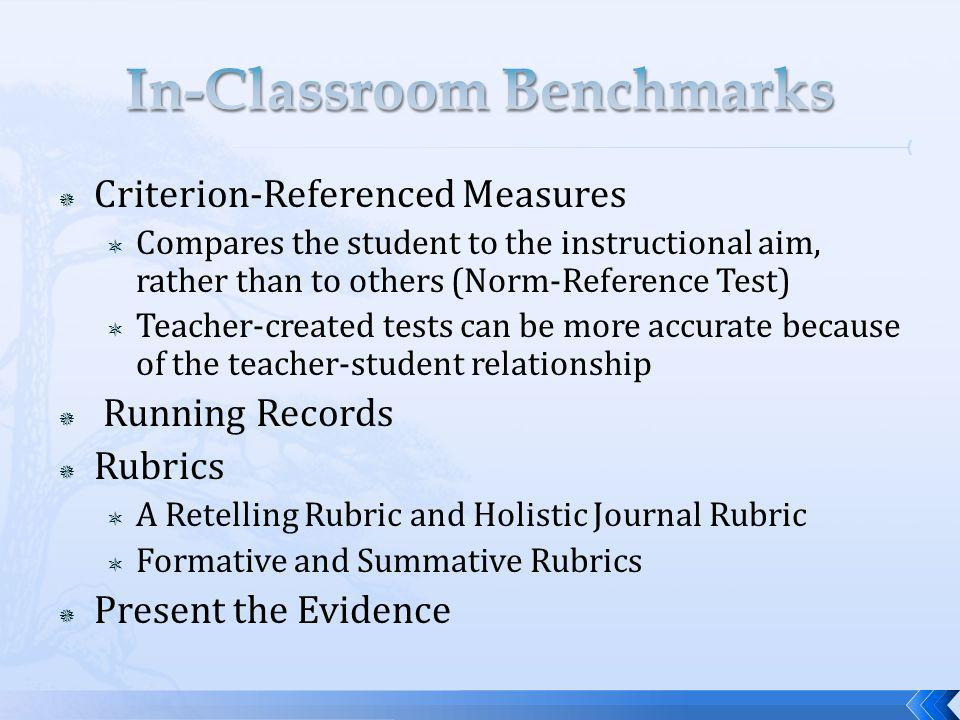Criterion-Referenced Measures Compares the student to the instructional aim, rather than to others (Norm-Reference Test) Teacher-created tests can be more accurate because of the teacher-student relationship Running Records Rubrics A Retelling Rubric and Holistic Journal Rubric Formative and Summative Rubrics Present the Evidence