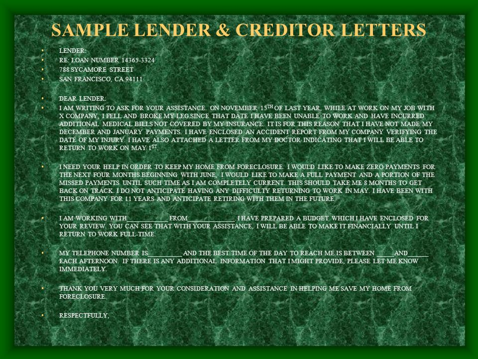 SAMPLE LENDER & CREDITOR LETTERS LENDER: RE: LOAN NUMBER 14365-3324 788 SYCAMORE STREET SAN FRANCISCO, CA 94111 DEAR LENDER: I AM WRITING TO ASK FOR YOUR ASSISTANCE.