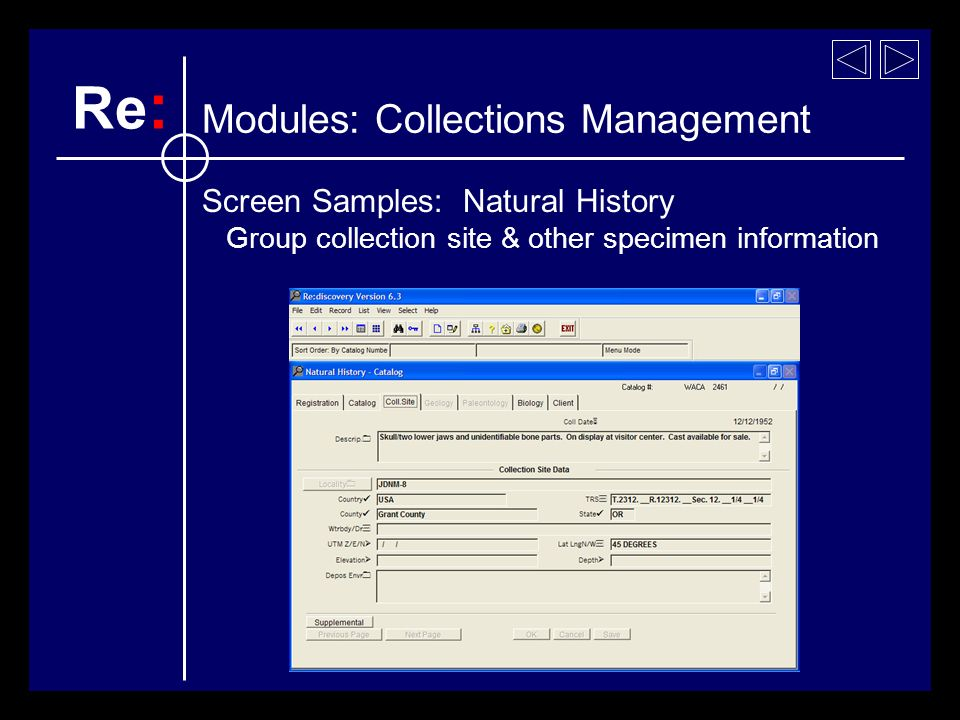 Screen Samples: Natural History Group collection site & other specimen information Re : Modules: Collections Management