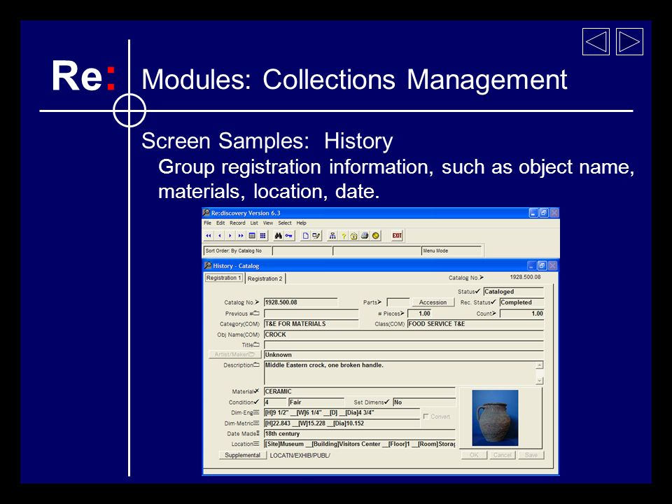 Screen Samples: History Group registration information, such as object name, materials, location, date.