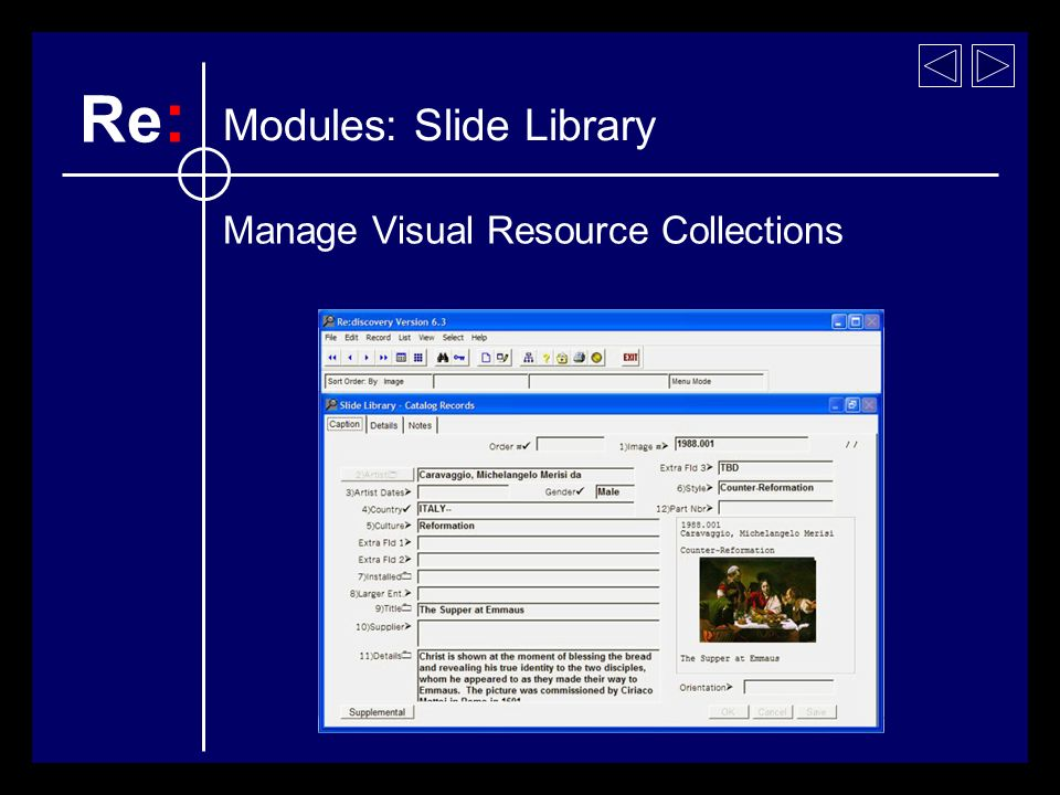 Manage Visual Resource Collections Modules: Slide Library Re :