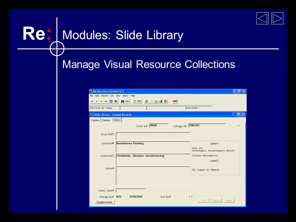 Modules: Slide Library Re : Manage Visual Resource Collections