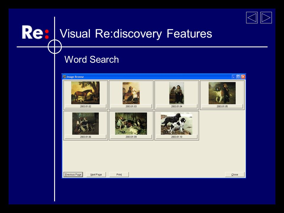 Visual Re:discovery Features Word Search Painting and dogs