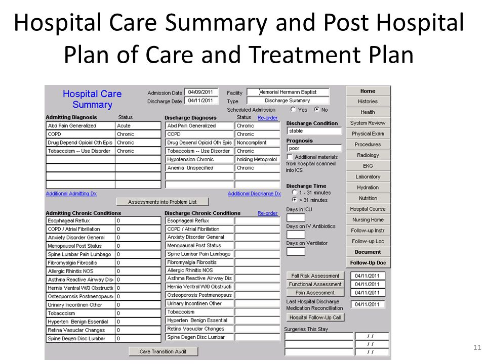 Hospital Care Summary and Post Hospital Plan of Care and Treatment Plan 11