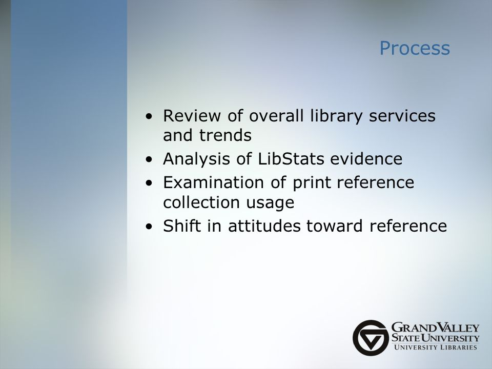 Process Review of overall library services and trends Analysis of LibStats evidence Examination of print reference collection usage Shift in attitudes toward reference