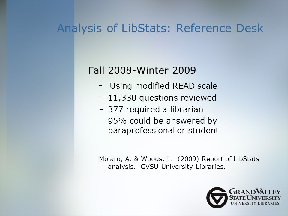 Analysis of LibStats: Reference Desk Fall 2008-Winter Using modified READ scale –11,330 questions reviewed –377 required a librarian –95% could be answered by paraprofessional or student Molaro, A.