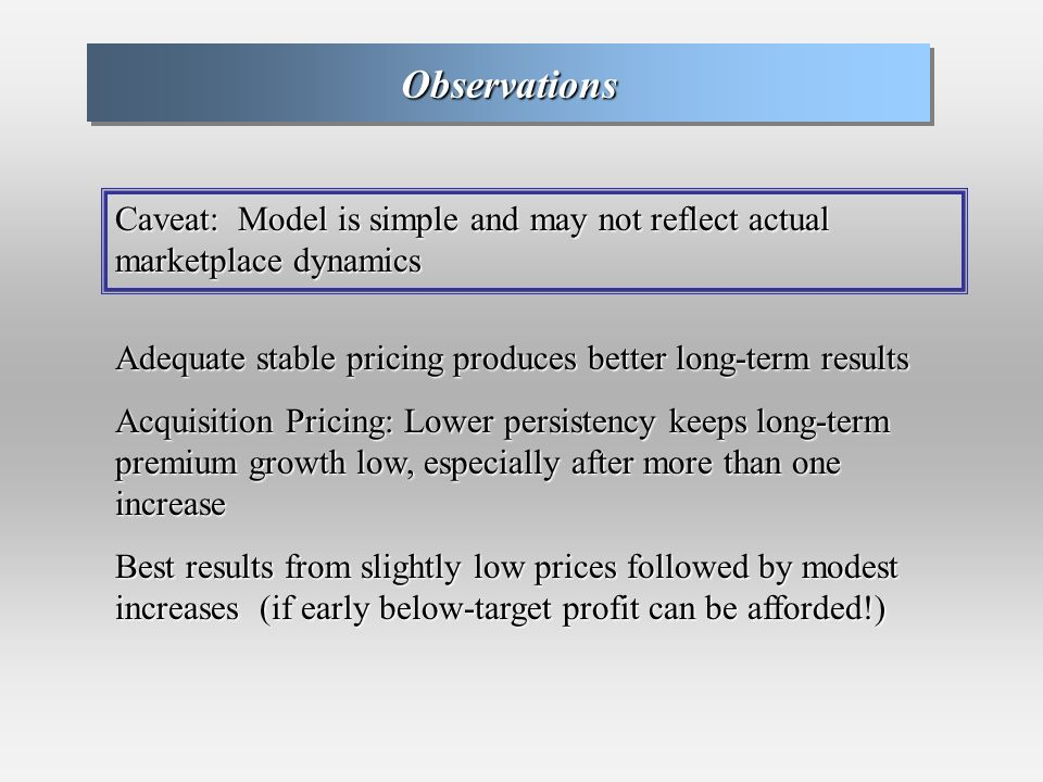 ObservationsObservations Caveat: Model is simple and may not reflect actual marketplace dynamics Adequate stable pricing produces better long-term results Acquisition Pricing: Lower persistency keeps long-term premium growth low, especially after more than one increase Best results from slightly low prices followed by modest increases (if early below-target profit can be afforded!)