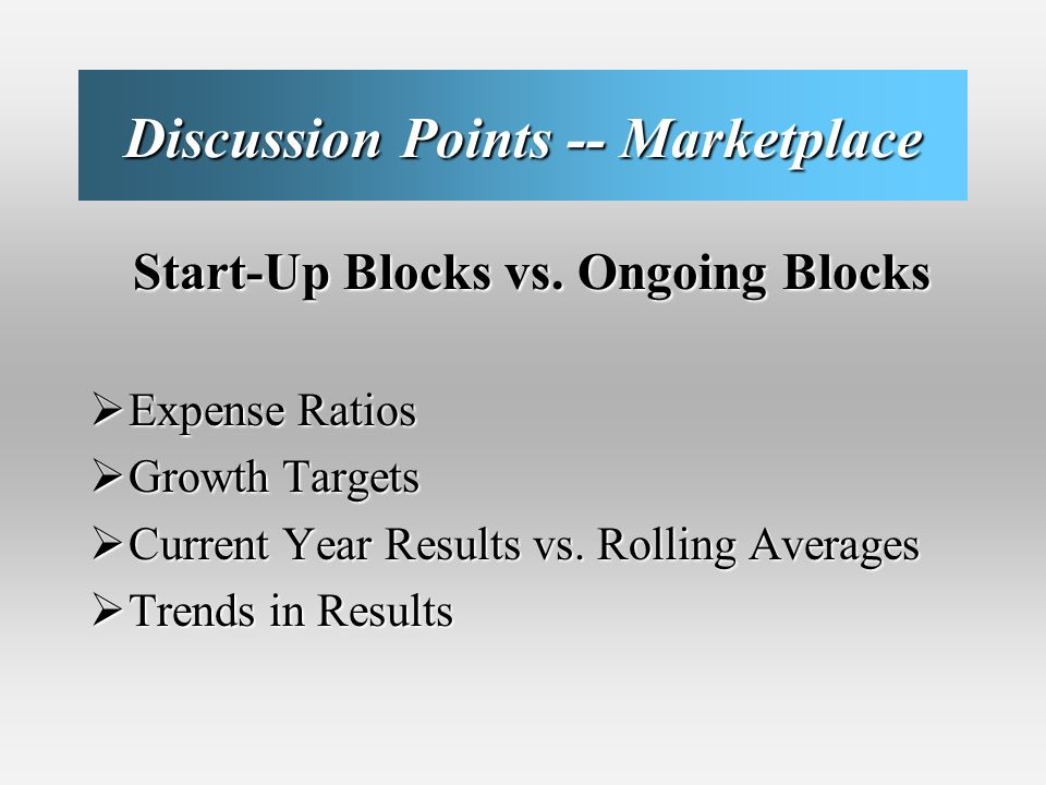 Discussion Points -- Marketplace Start-Up Blocks vs.