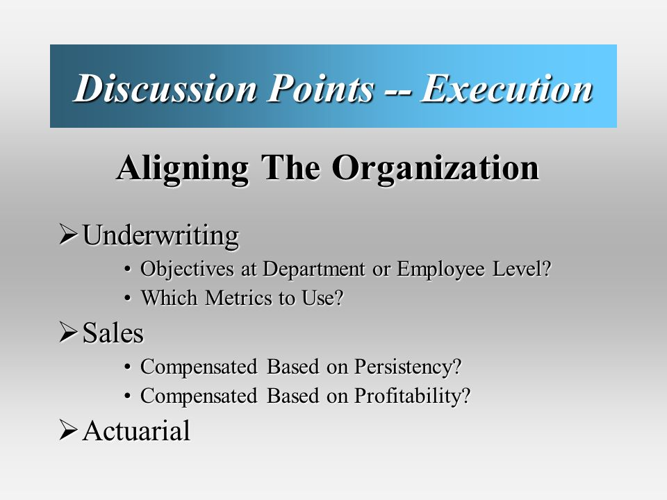 Discussion Points -- Execution Aligning The Organization Aligning The Organization Underwriting Underwriting Objectives at Department or Employee Level Objectives at Department or Employee Level.