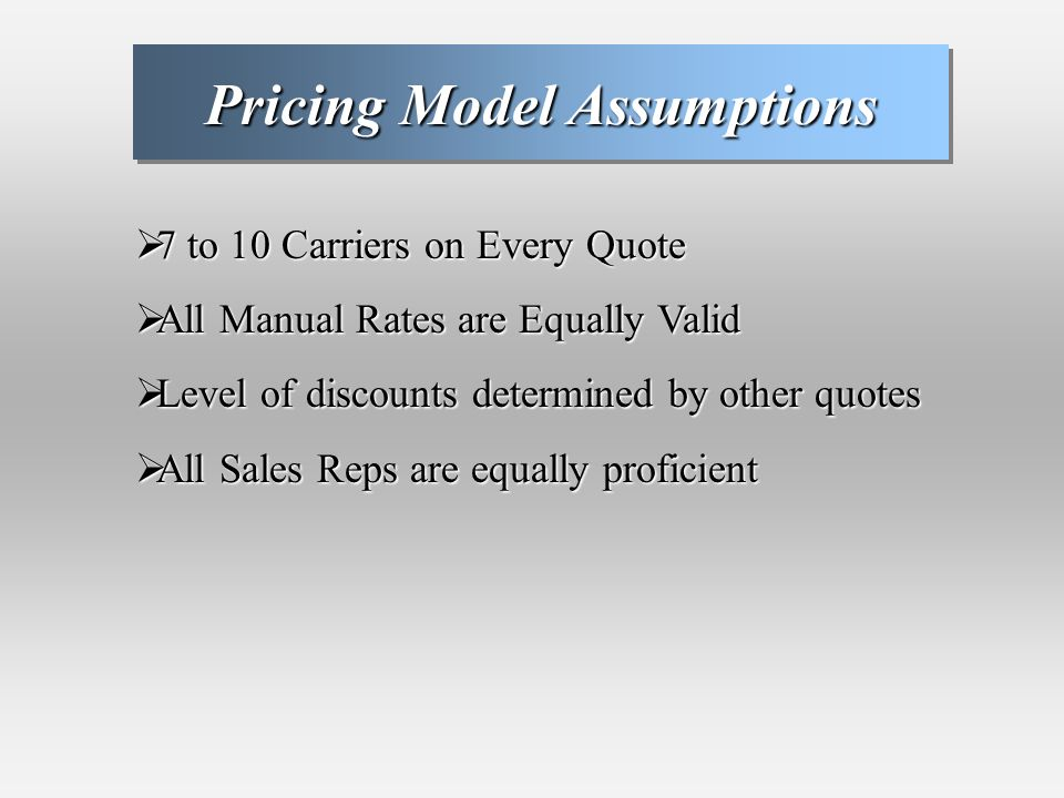 Pricing Model Assumptions 7 to 10 Carriers on Every Quote 7 to 10 Carriers on Every Quote All Manual Rates are Equally Valid All Manual Rates are Equally Valid Level of discounts determined by other quotes Level of discounts determined by other quotes All Sales Reps are equally proficient All Sales Reps are equally proficient