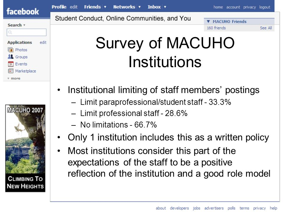 Survey of MACUHO Institutions Institutional limiting of staff members postings –Limit paraprofessional/student staff % –Limit professional staff % –No limitations % Only 1 institution includes this as a written policy Most institutions consider this part of the expectations of the staff to be a positive reflection of the institution and a good role model