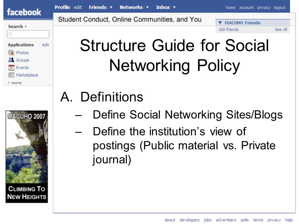 Structure Guide for Social Networking Policy A.Definitions –Define Social Networking Sites/Blogs –Define the institutions view of postings (Public material vs.