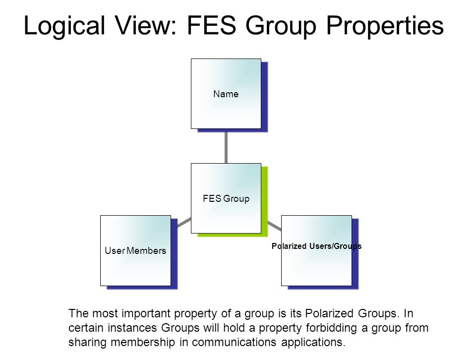 Logical View: FES Group Properties FES Group Name Polarized Users/GroupsUser Members The most important property of a group is its Polarized Groups.