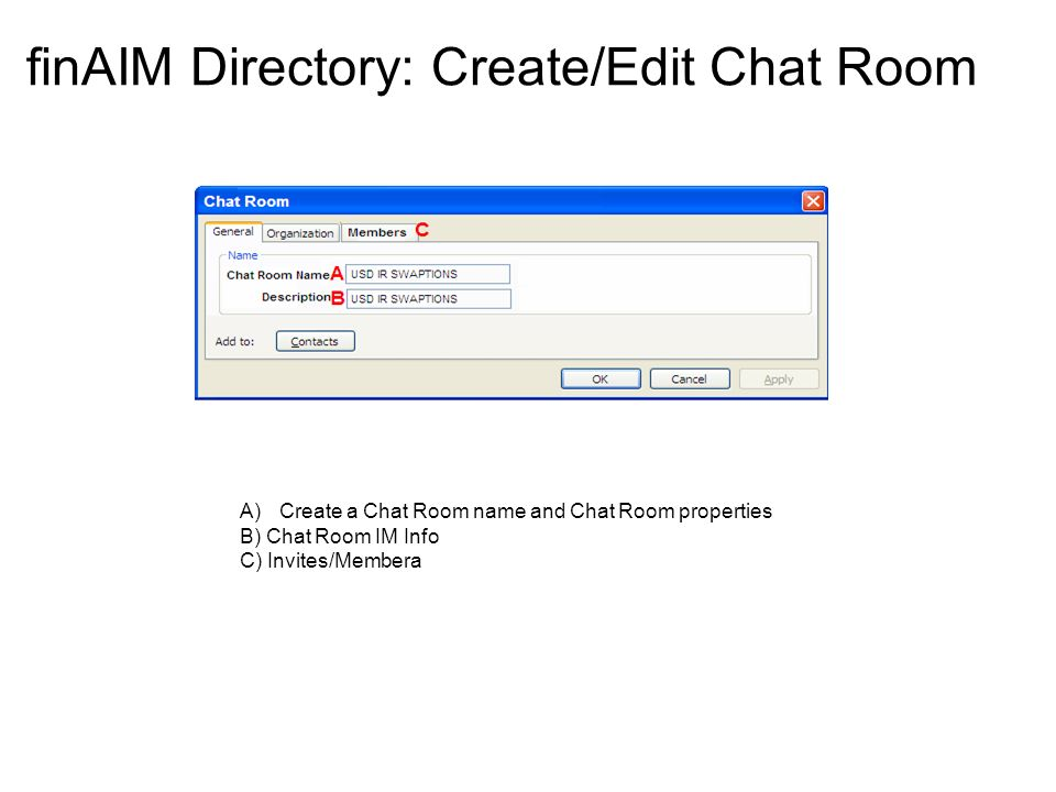 finAIM Directory: Create/Edit Chat Room A)Create a Chat Room name and Chat Room properties B) Chat Room IM Info C) Invites/Membera