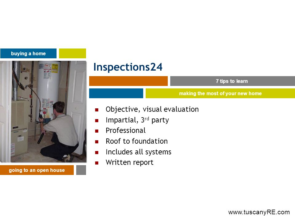 Inspections24 Objective, visual evaluation Impartial, 3 rd party Professional Roof to foundation Includes all systems Written report 7 tips to learn buying a home making the most of your new home going to an open house