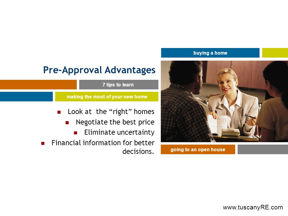Pre-Approval Advantages Look at the right homes Negotiate the best price Eliminate uncertainty Financial information for better decisions.