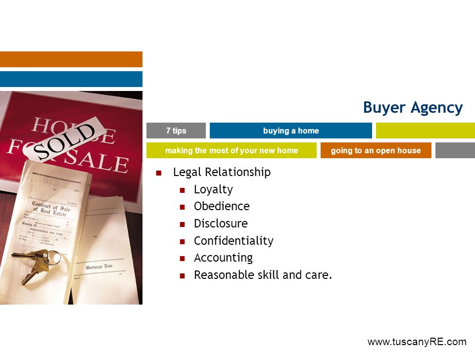 Buyer Agency Legal Relationship Loyalty Obedience Disclosure Confidentiality Accounting Reasonable skill and care.