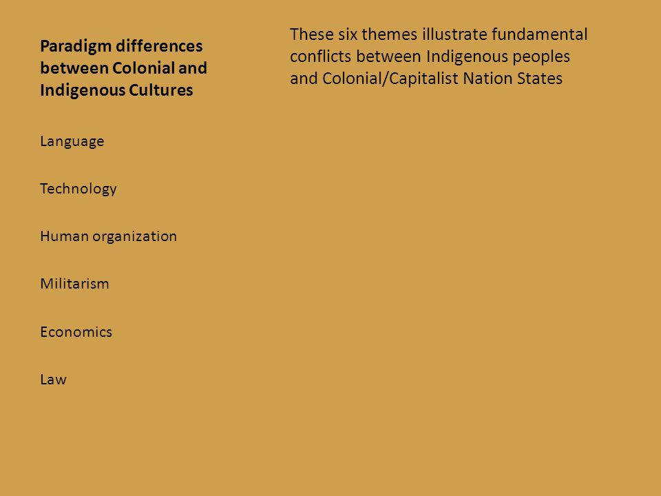 Paradigm differences between Colonial and Indigenous Cultures These six themes illustrate fundamental conflicts between Indigenous peoples and Colonial/Capitalist Nation States Language Technology Human organization Militarism Economics Law