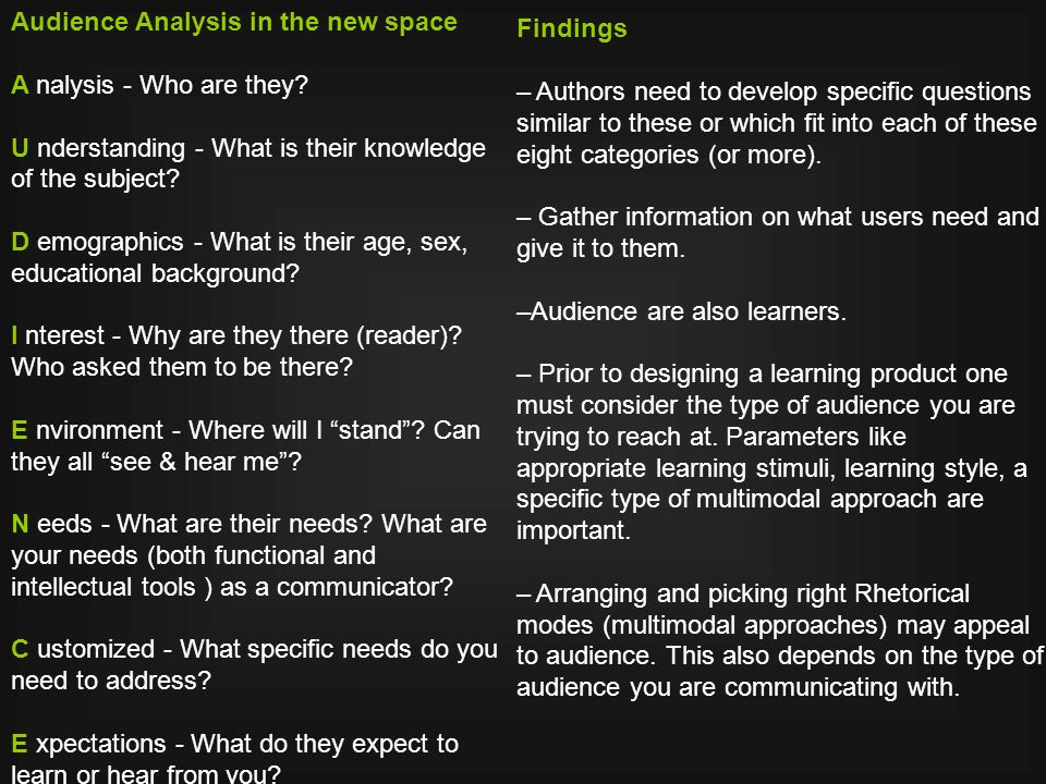 Audience Analysis in the new space A nalysis - Who are they.