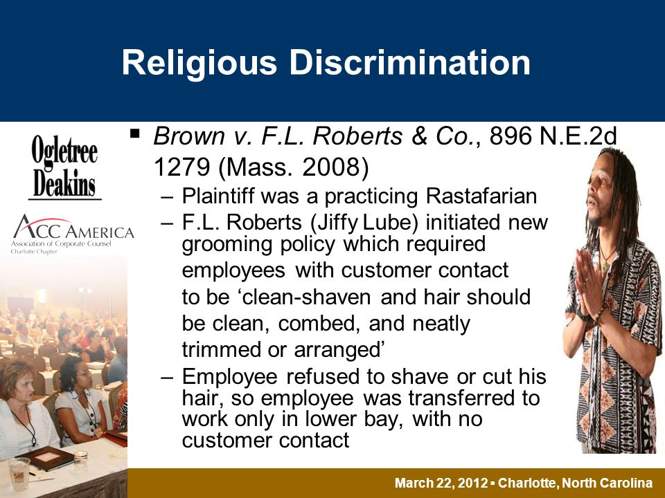 March 22, 2012 Charlotte, North Carolina Religious Discrimination Brown v.