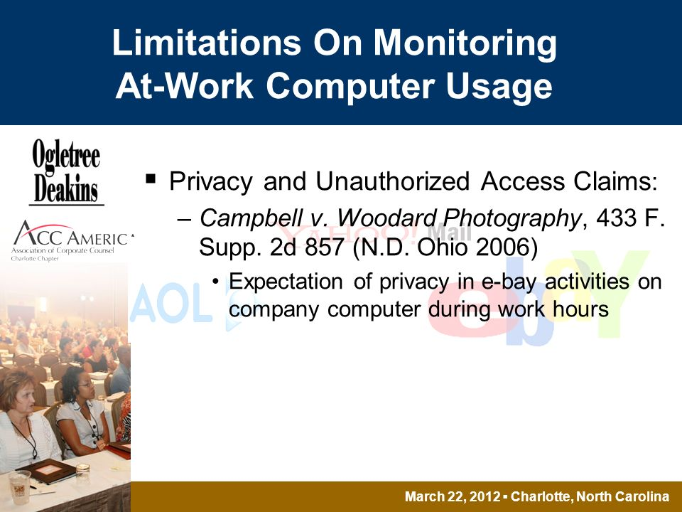 March 22, 2012 Charlotte, North Carolina Limitations On Monitoring At-Work Computer Usage Privacy and Unauthorized Access Claims : –Campbell v.