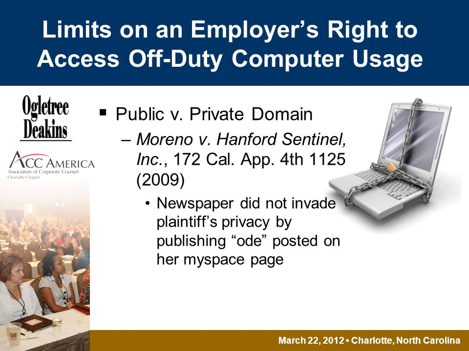March 22, 2012 Charlotte, North Carolina Limits on an Employers Right to Access Off-Duty Computer Usage Public v.