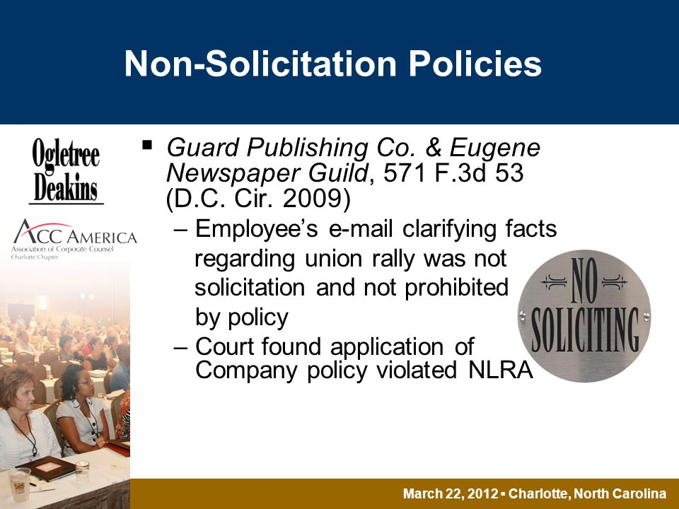 March 22, 2012 Charlotte, North Carolina Non-Solicitation Policies Guard Publishing Co.