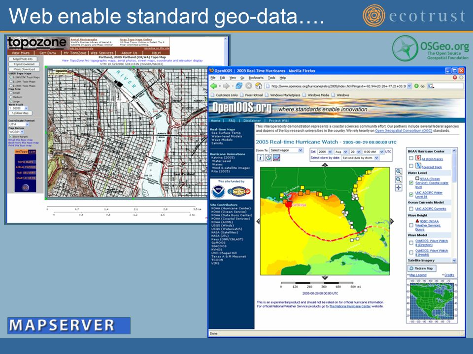 Web enable standard geo-data….