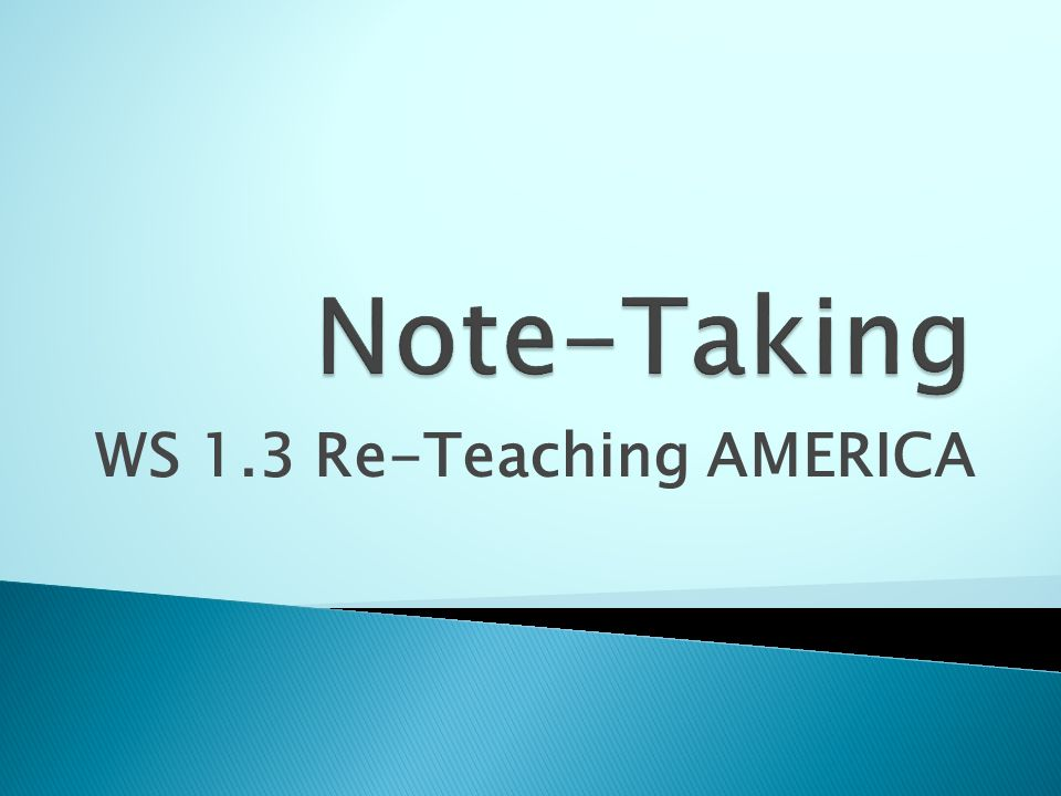 WS 1.3 Re-Teaching AMERICA
