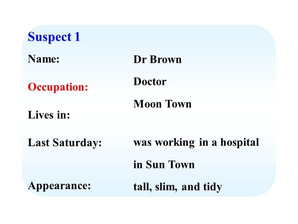 Suspect 1 Name: Occupation: Lives in: Last Saturday: Appearance: Dr Brown Doctor Moon Town was working in a hospital in Sun Town tall, slim, and tidy