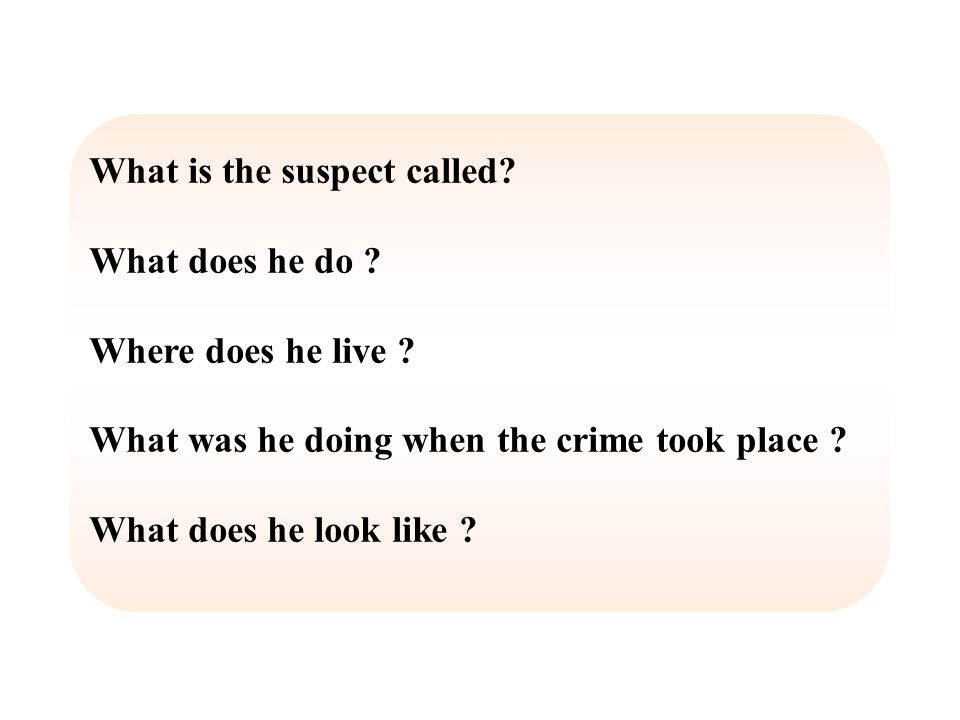 What is the suspect called. What does he do . Where does he live .