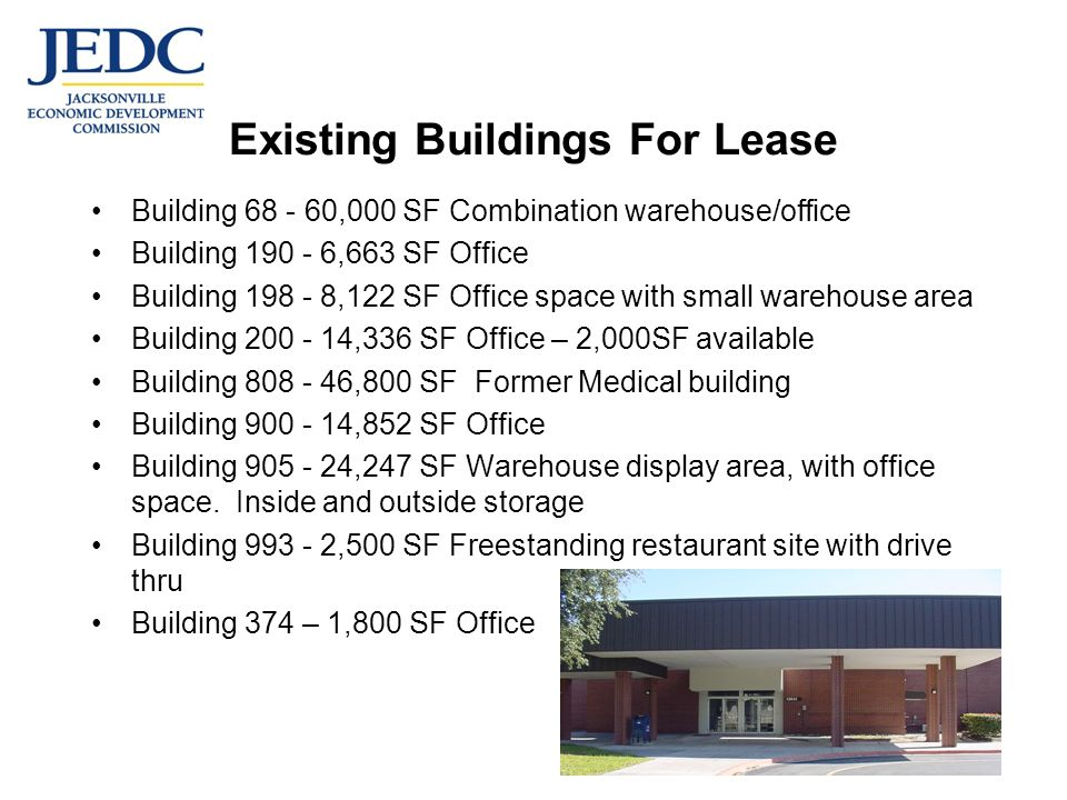 Existing Buildings For Lease Building ,000 SF Combination warehouse/office Building ,663 SF Office Building ,122 SF Office space with small warehouse area Building ,336 SF Office – 2,000SF available Building ,800 SF Former Medical building Building ,852 SF Office Building ,247 SF Warehouse display area, with office space.