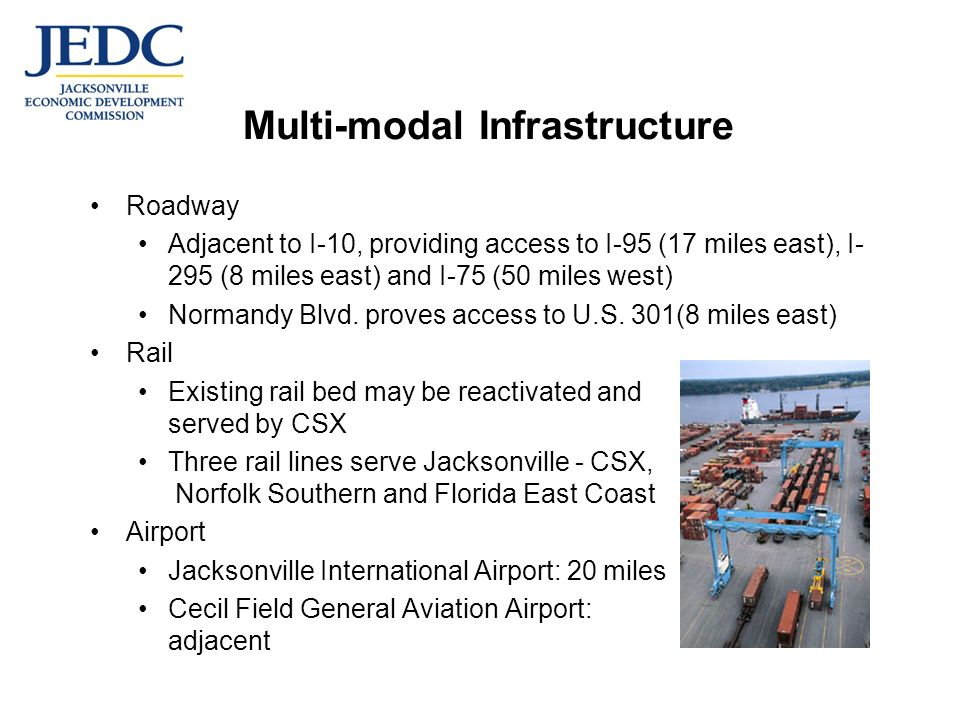 Multi-modal Infrastructure Roadway Adjacent to I-10, providing access to I-95 (17 miles east), I- 295 (8 miles east) and I-75 (50 miles west) Normandy Blvd.