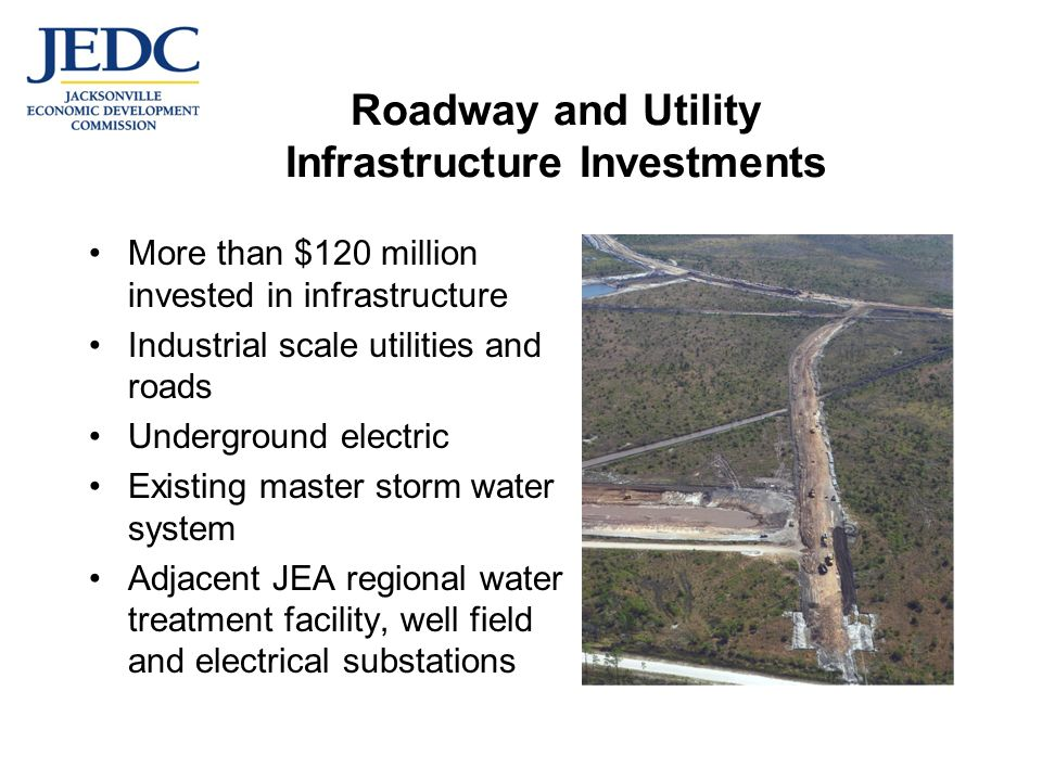 Roadway and Utility Infrastructure Investments More than $120 million invested in infrastructure Industrial scale utilities and roads Underground electric Existing master storm water system Adjacent JEA regional water treatment facility, well field and electrical substations